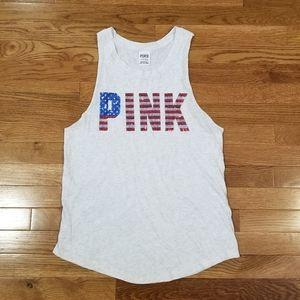 Pink flag sequins spell-out muscle tee S